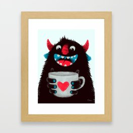 Demon with a cup of coffee (contrast) Framed Art Print
