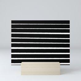 Rough White Thin Stripes on Black Mini Art Print