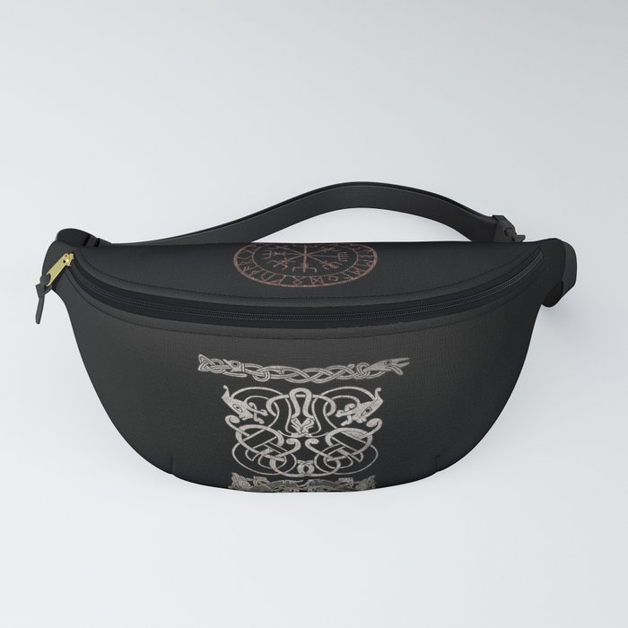 Old norse design - Two Jellinge-style entwined beasts originally carved on a rune stone in Gotland. Fanny Pack