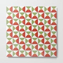 Retro Holiday Minimalist Geometric Checkerboard Stars in Christmas Red Green Metal Print
