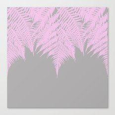 Fern Pink on Grey Canvas Print