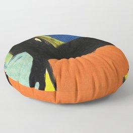 Black Dog and Green Ball Floor Pillow
