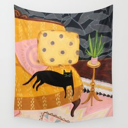 black cat on mustard yellow sofa painting by Tascha Wall Tapestry