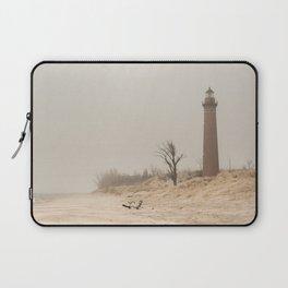 Little Sable Point Lighthouse Lake Michigan Fog Sand Winter Laptop Sleeve