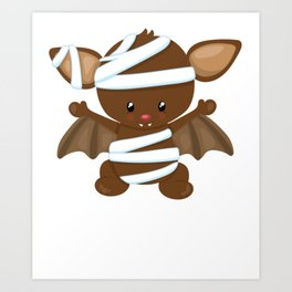Brown Bat Mummy Halloween Art Print