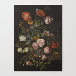 Cornelis Kick , A STILL LIFE WITH PARROT TULIPS, POPPIES, ROSES, SNOW BALLS, Canvas Print