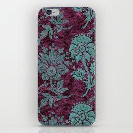Burgundy Turquoise Velvet Floral Pattern 05 iPhone Skin