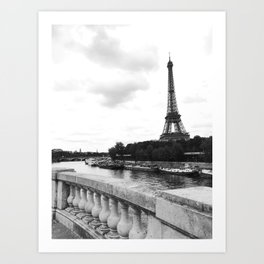 eiffel tower black and w Art Print