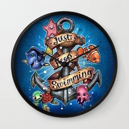 Just Keep Swimming Wall Clock