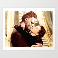 michael myers Art Prints featuring Michael Myers as Clark Gable by Luigi Tarini