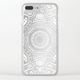 Silver Ethnic Pattern With Mandalas Clear iPhone Case