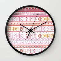 hippie Wall Clocks featuring HIPPIE BANDANA by Nika