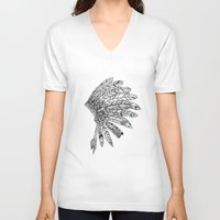 indian V-neck T-shirts featuring Indian by Andrea Eedes