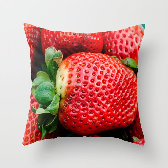 Big Red Throw Pillows : Big red juicy strawberry Throw Pillow by Michael P. Moriarty Society6