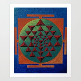 sri yantra 3d Art Print