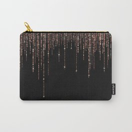 Luxury Black Rose Gold Sparkly Glitter Fringe Carry-All Pouch