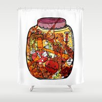 vegetables Shower Curtains featuring Preserved vegetables by ChiLi_biRó