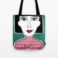french Tote Bags featuring French by Julieta Gutnisky