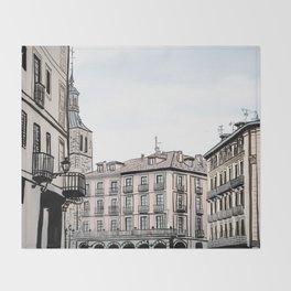 Major Square of Segovia Drawing in Spain Throw Blanket