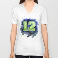 seahawks V-neck T-shirts featuring 12th Man Seahawks Seattle Go Hawks Art by Olechka