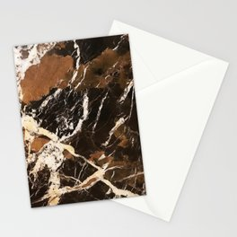 Sienna Brown and Black Marble With Creamy Veins Stationery Cards