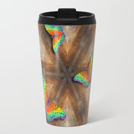 Surreal butterflies on corrugated iron mandala Travel Mug