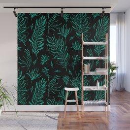 Elegant black emerald green glitter leaves Wall Mural