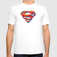 Superman in Flames MEDIUM White Mens Fitted Tee