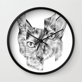Kitty Split Wall Clock
