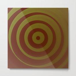 Crimson and gold abstract circles Metal Print
