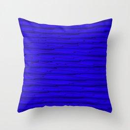 Horizontal bright blue lines on a dark tree. Throw Pillow