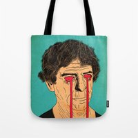 lou reed Tote Bags featuring You, Me and Lou Reed by Roland Lefox
