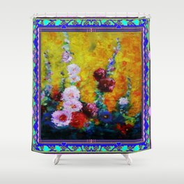 Hollyhock Painting in a Western Style Art Design Shower Curtain