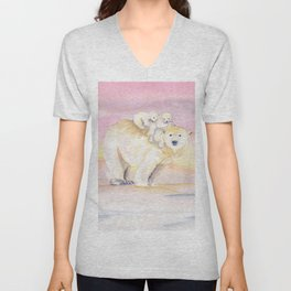 Polar Bear Family Unisex V-Neck
