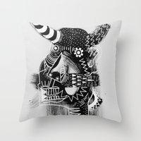 cow Throw Pillows featuring COW by Benson Koo