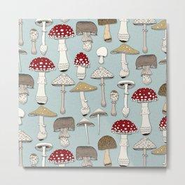 mushrooms celadon blue Metal Print