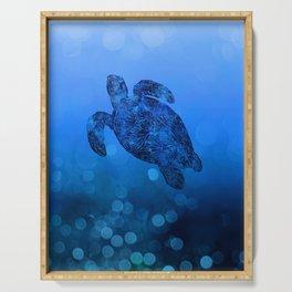 Sea Turtle In Deep Blue Water Serving Tray