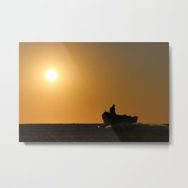 Silhouette of a Fisherman Metal Print