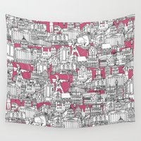 bubblegum Wall Tapestries featuring NOTTINGHAM BUBBLEGUM by Sharon Turner
