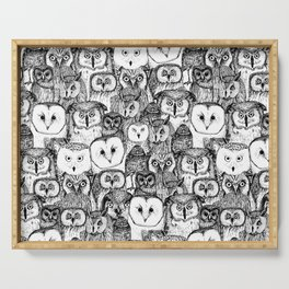 just owls black white Serving Tray