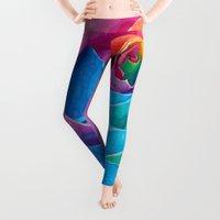 rose Leggings featuring Rose  by Aloke Design