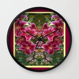 BURGUNDY ASIAN LILIES FLORAL MODERN ART Wall Clock