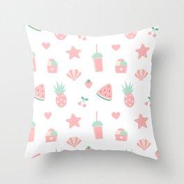 summer pattern with watermelon, pineapple, ice cream, heart, starfish, cherry, strawberry, shellfish Throw Pillow