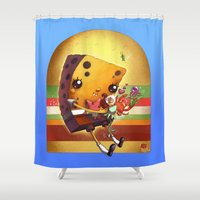 spongebob Shower Curtains featuring Spongebob Squarepants and f(r)iends by Nathalie Vessillier