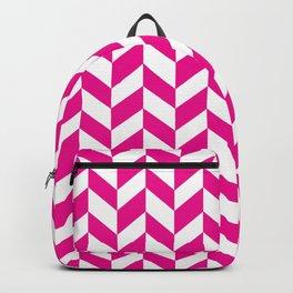 Herringbone Texture (Magenta & White) Backpack