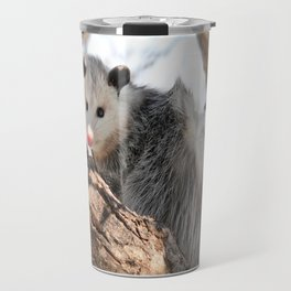 North American Opossum in Winter Travel Mug