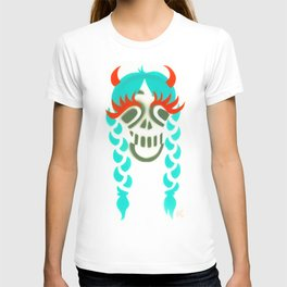 Happy braided Skull Lady_turquoise T-shirt