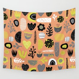Abstract Scandinavian flowers and leaves pattern Wall Tapestry