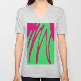 Green Pink Pattern Unisex V-Neck