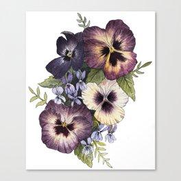 Watercolor Pansy Bouquet Canvas Print